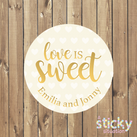 Personalised 'Love is Sweet' Stickers - Gold Design